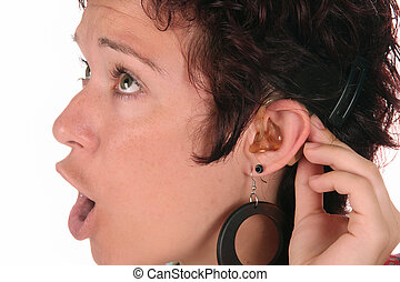 Hearing Aid - Young woman probation tones with Hearing Aid