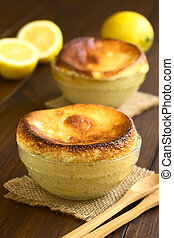 Lemon Souffle - Homemade lemon souffle in glass bowls,...