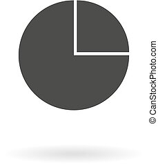 Dark grey iconfor pie chart on white background with shadow