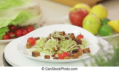 Vegetable salad on a plate - Vegetable salad with fried...