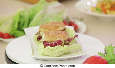 Vegetarian burger on a plate - Vegetarian burger with...