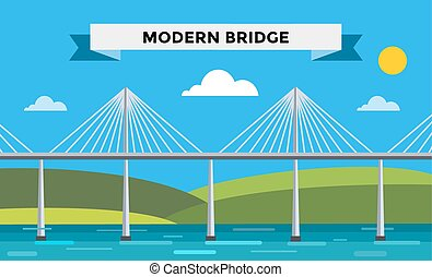 Modern bridge vector illustration. Vector bridge silhouette....