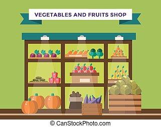 Fruit and vegetables shop stall Shop market fruits...