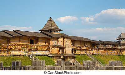 Ancient wooden fortifications around the city Built on a...