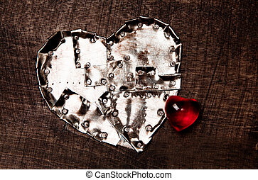 Iron heart and glass heart
