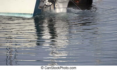 Outboard Motor At Dock Churning - Motorboat Backing Away...