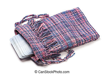 Handwoven Tarot bag - Purple handwoven bag with Tarot cards...
