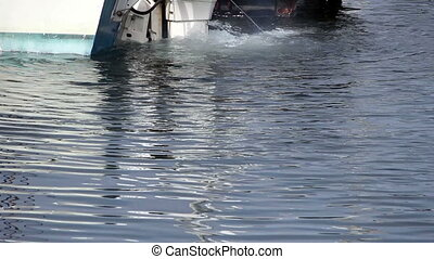 Outboard Motor At Dock Churning Up - Back Of Motor Boat At...