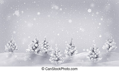 snow covered trees christmas illustration - snow covered...
