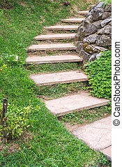 Foot path with grass in garden