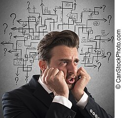 Maze of answer - Stressed man thinks worried an answer...