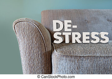 De-Stress 3d Words Couch Mind Body Unwinding - De-Stress...
