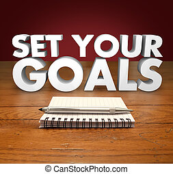 Set Your Goals 3d Words Notepad Pen - Seet Your Goals words...