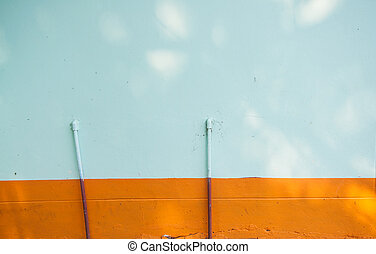 blue and orange cement wall