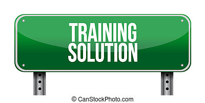 Training Solution road sign concept