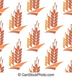 Seamless pattern of wheat, rye and barley