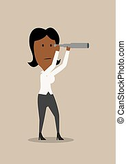 Cartoon businesswoman looking into spyglass - Serious...
