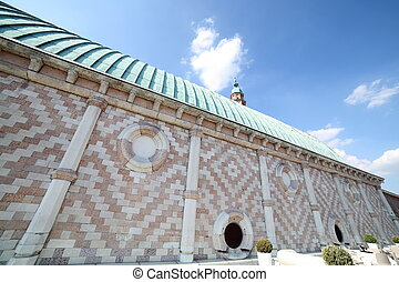 tower of Basilica Palladiana and copper roof in Vicenza City...