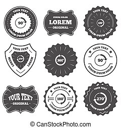 Angle degrees circle icons Geometry math signs - Vintage...