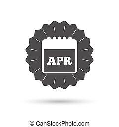 Calendar sign icon April month symbol - Vintage emblem medal...