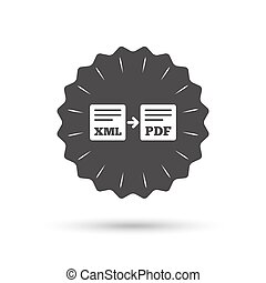 Export XML to PDF icon File document symbol - Vintage emblem...