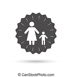 One-parent family with one child sign icon. - Vintage emblem...