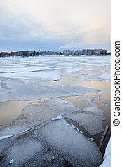 Thin ice at lake - Thin ice in lake at winter morning