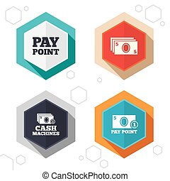 Cash and coin icons Money machines or ATM - Hexagon buttons...