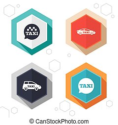 Public transport icons Taxi speech bubble signs - Hexagon...