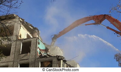 demolition old house - Hydraulic crusher excavator machinery...