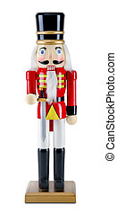 Traditional Figurine Christmas Nutcracker on a white...