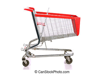 Empty a shopping cart over white background