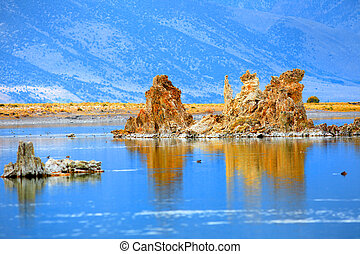 Mono lake - Tall tufa formations in Mono lake California