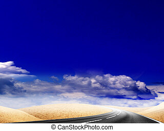 desert - route on background beautiful solar sky
