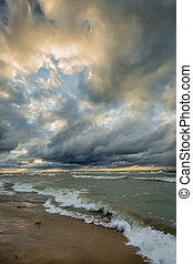 Storm Clouds Over Lake Huron - Storm clouds over Lake Huron...