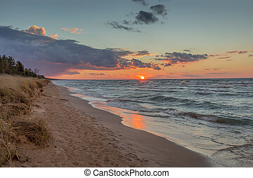 Sunset Over Lake Huron - Sunset over Lake Huron - Grand...