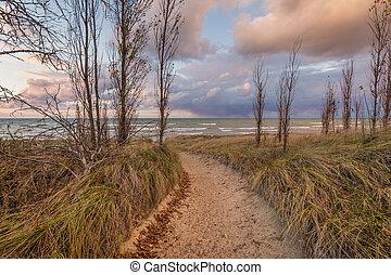 Path to a Lake Huron Beach - Path through a sand dune to a...