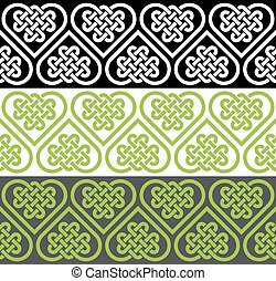 A seamless pattern made of Celtic heart shape knots, vector...