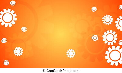 Bright orange video animation with gears icons - Bright...