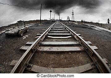 ecology pollution - landscape with railway, pollution of the...