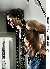 sport guy - very power athletic guy , execute exercise on...