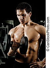 bodybuilder - very power athletic guy , execute exercise...