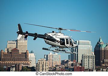 Passenger helicopter flying in New York City