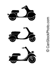 scooter and moped - Set of transport icons - scooter and...