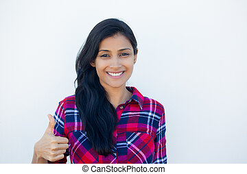 Thumbs up green light - Closeup portrait of young pretty...