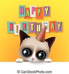 Cute happy birthday card with fun grumpy cat