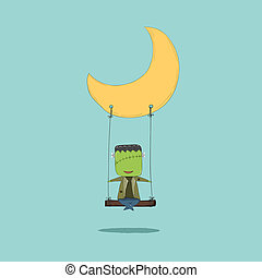October 16, 2015 Cartoon Frankenstein swinging on a moon,...
