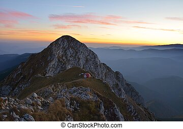 Beautiful sunset in Piatra Craiului mountains