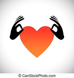 hand holding heart or love symbol vector logo icon