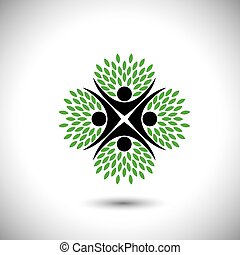 people in circle embracing tree or plant - eco concept vector
